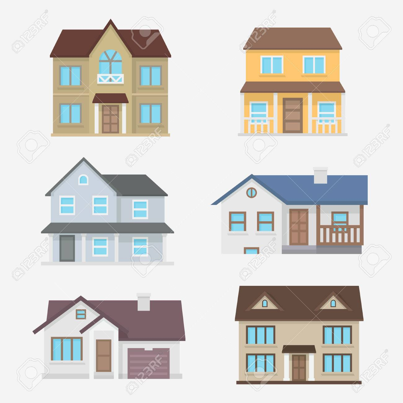 House Vector Illustration. Home Exterior Set. House Icon In Flat ...