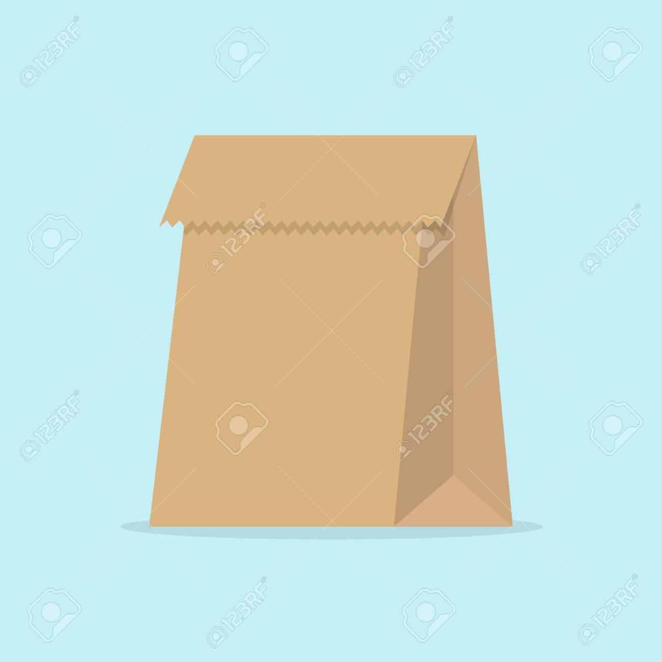 Paper bag vector - Paper Bag In Flat Style Paper Bag Food Image Paper Bag Vector Illustration