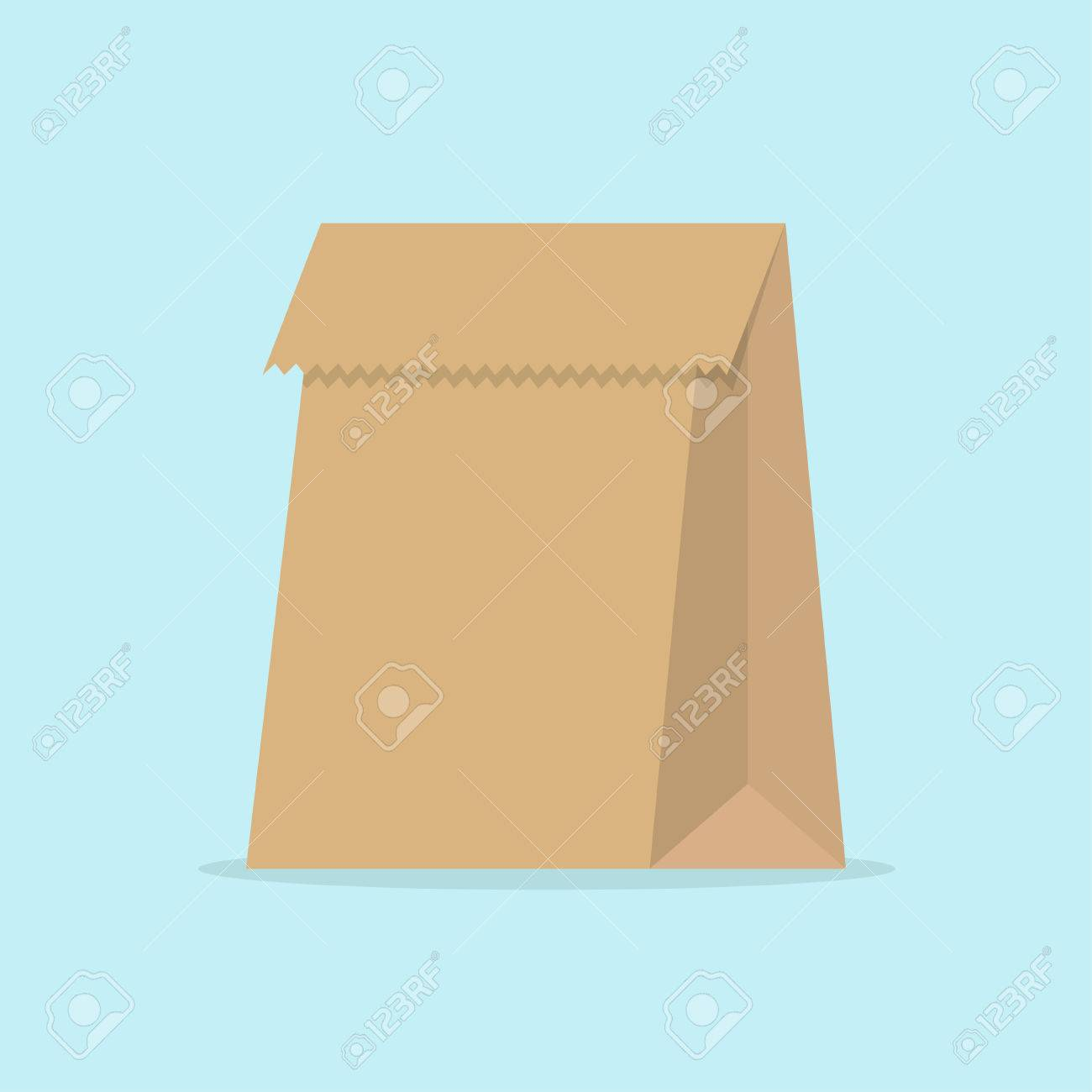 Paper Bag In Flat Style Food Image Vector Illustration