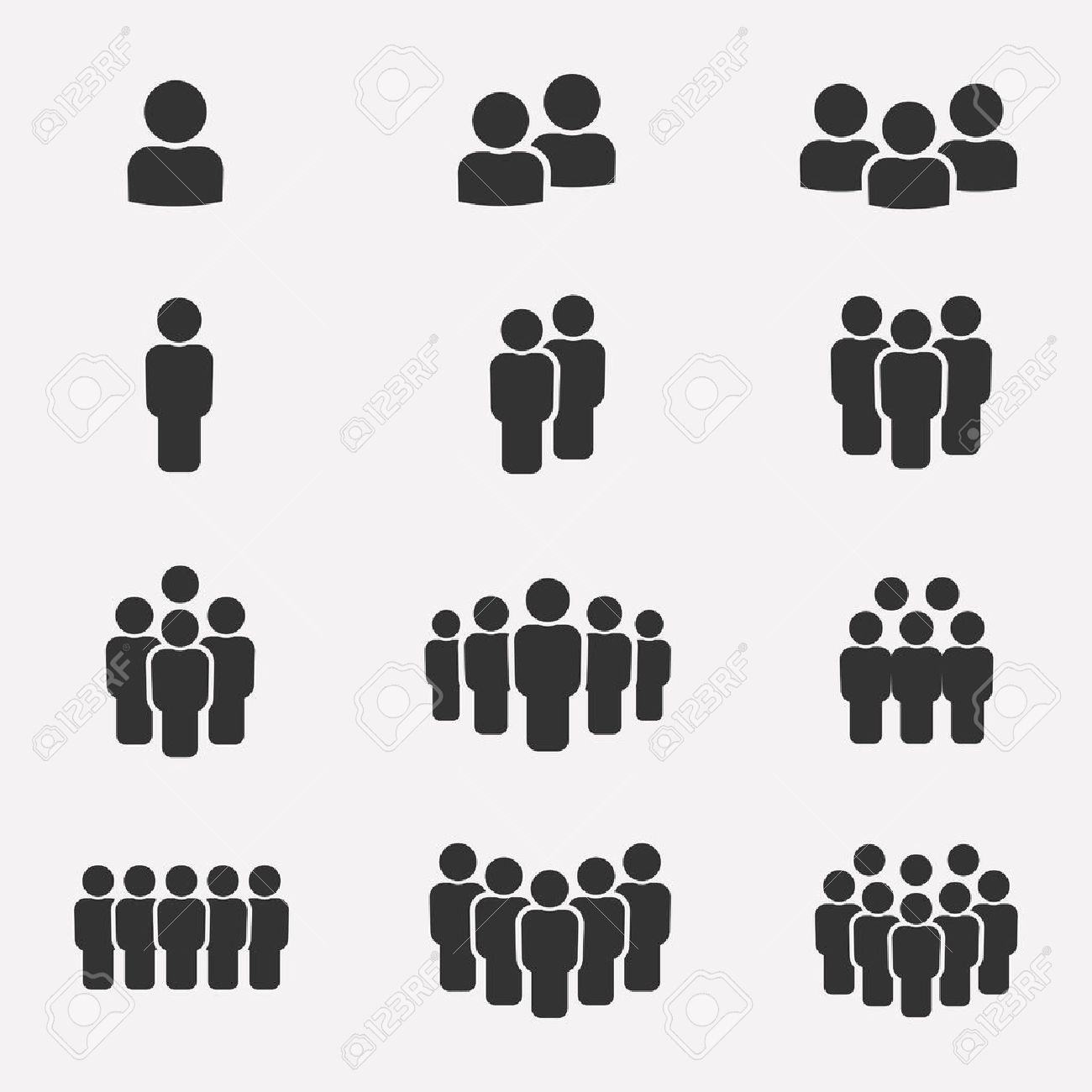 Team icon set. Group of people icons isolated on a white background. Business team icons collection. Crowd of people black silhouettes simple. Team icons in flat style. - 59728634