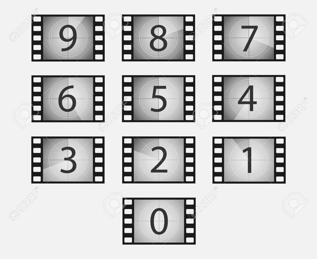 Old Film Or Movie Countdown Vector Set. Film Frames With Numbers ...