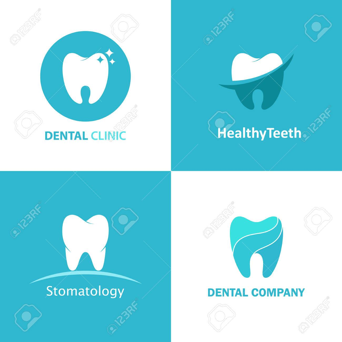 Logo Dental Clinic Vector Set Design Icons For Dentist Isolated Royalty Free Cliparts Vectors And Stock Illustration Image 68694901