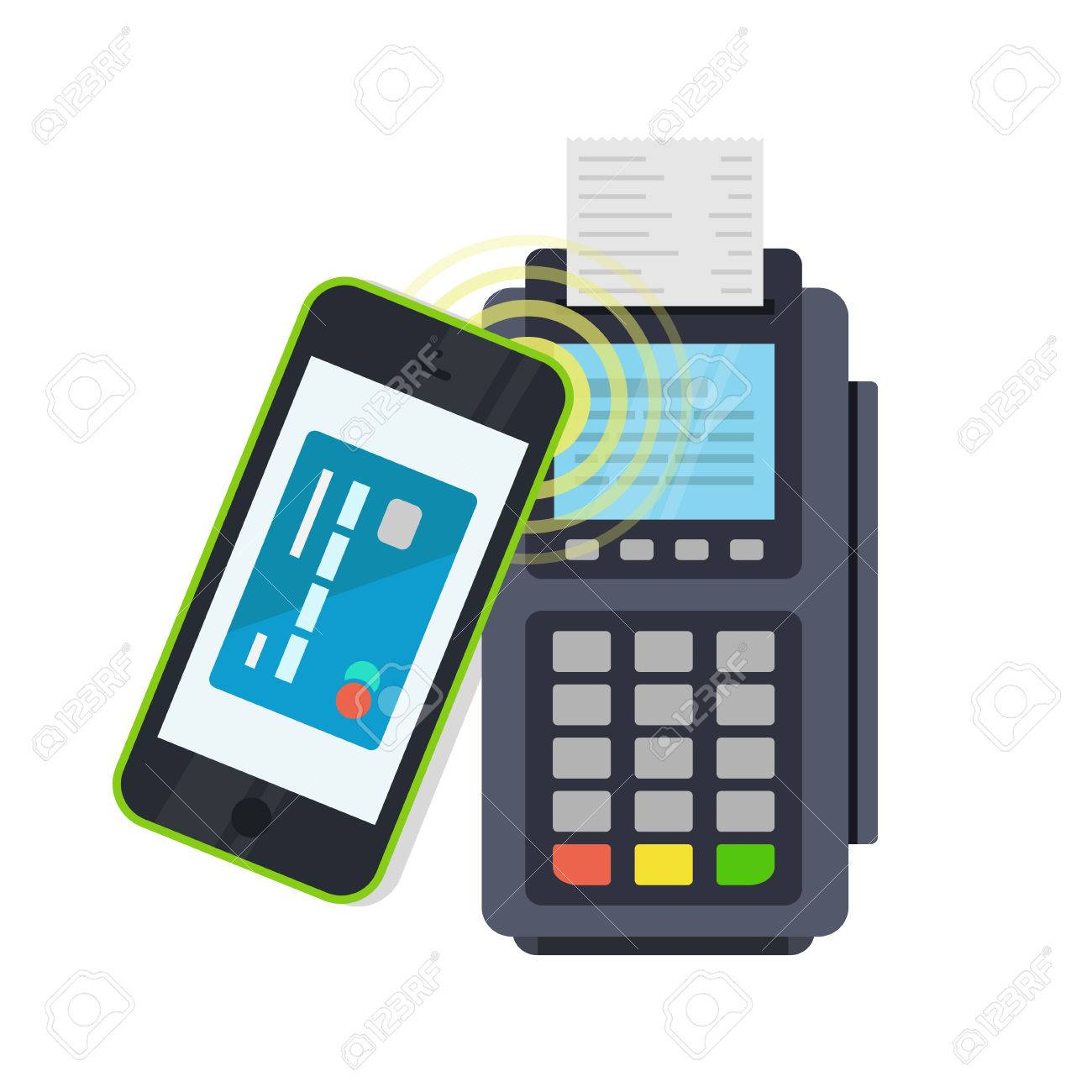 POS terminal confirms the payment made through mobile phone