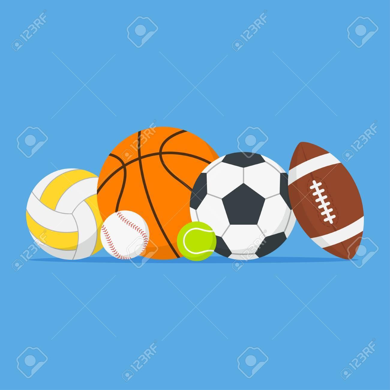 e52cb49d315 Foto de archivo - Set de pelotas de deporte. Bolas de dibujos animados en  un montón en un estilo plano. Equipo deportivo para jugar al fútbol,  ??baloncesto, ...