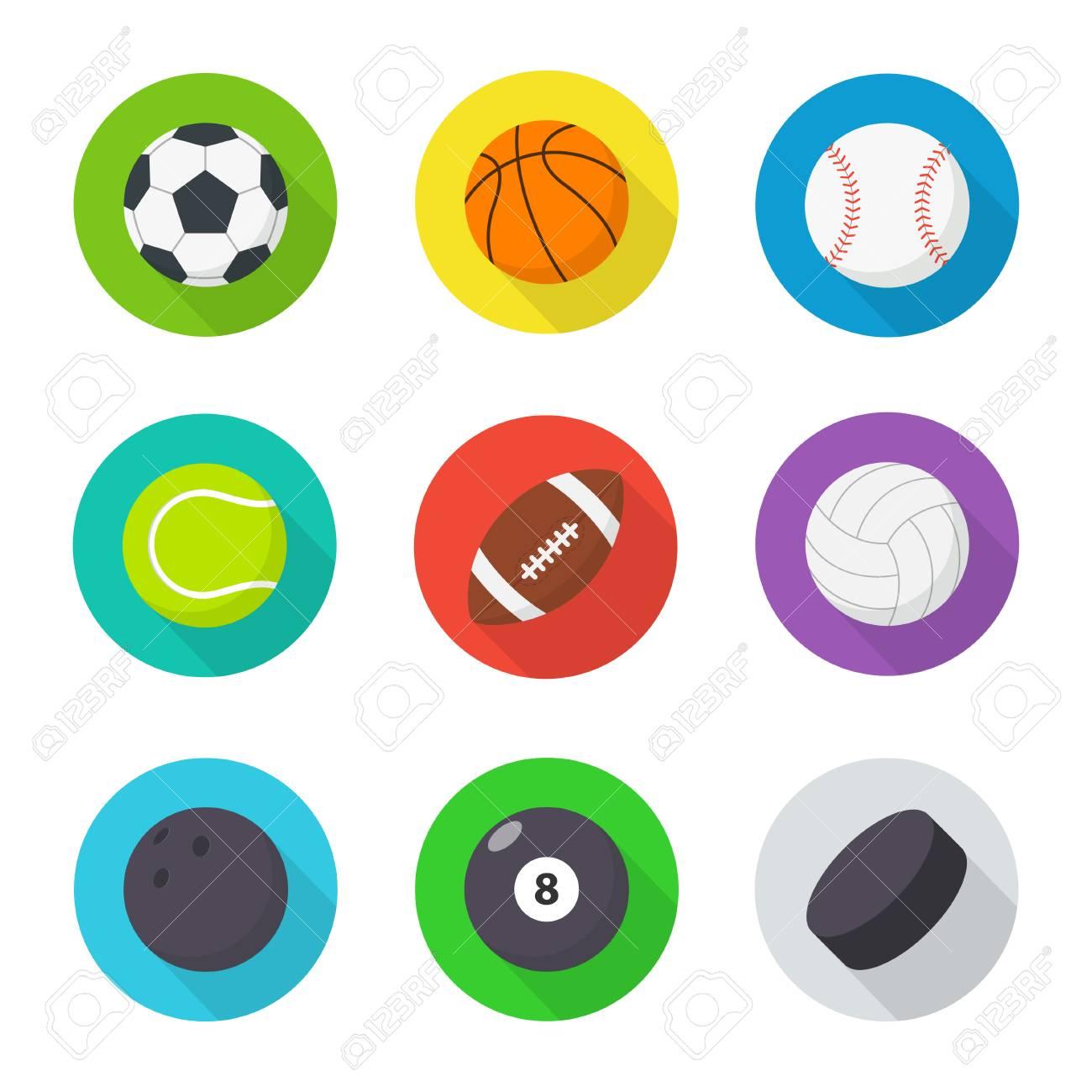 be8215de943 Set de pelotas de deporte. Plano, bolas de dibujos animados para jugar  fútbol,