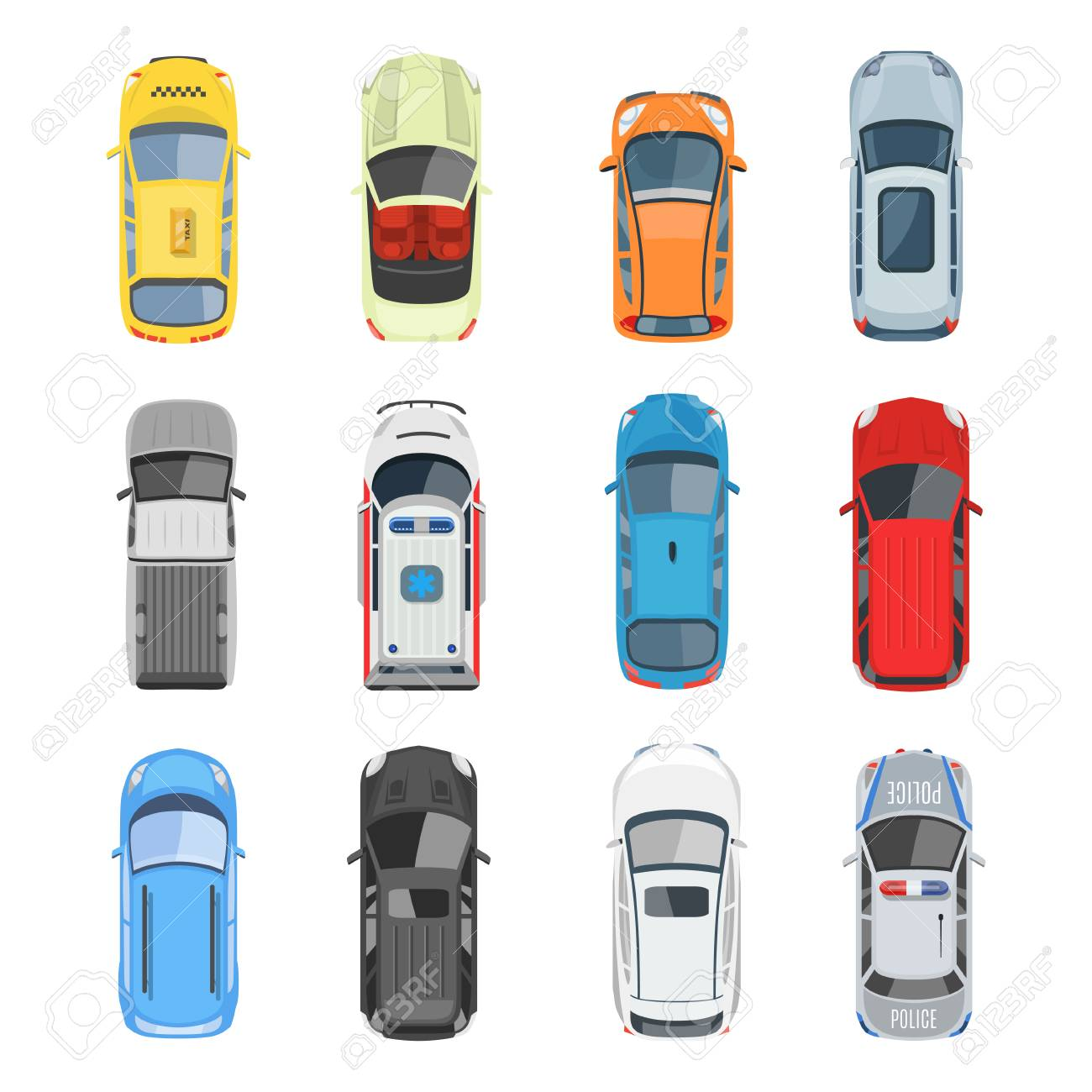 Set of car top view vector set. Different city vehicle transport views from the air or from the bird's eye. Isolated icons of auto cars from above in flat style. - 74398485