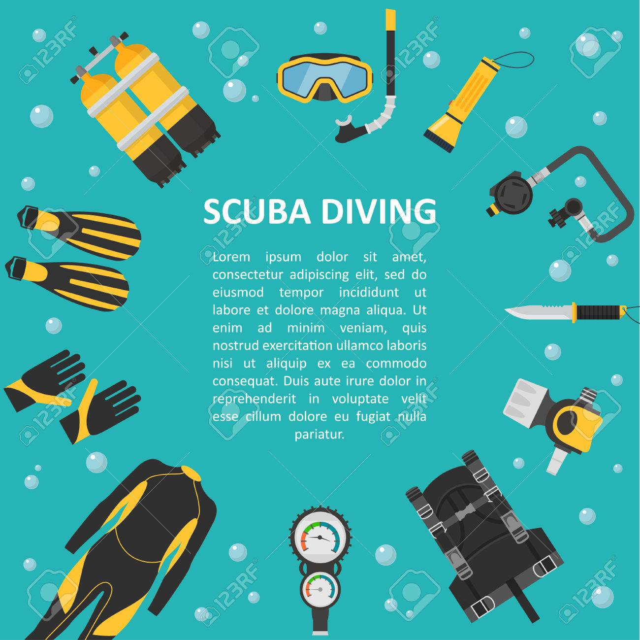 Scuba Diving Background In A Flat Style Poster Template Equipment And Accessories Banner