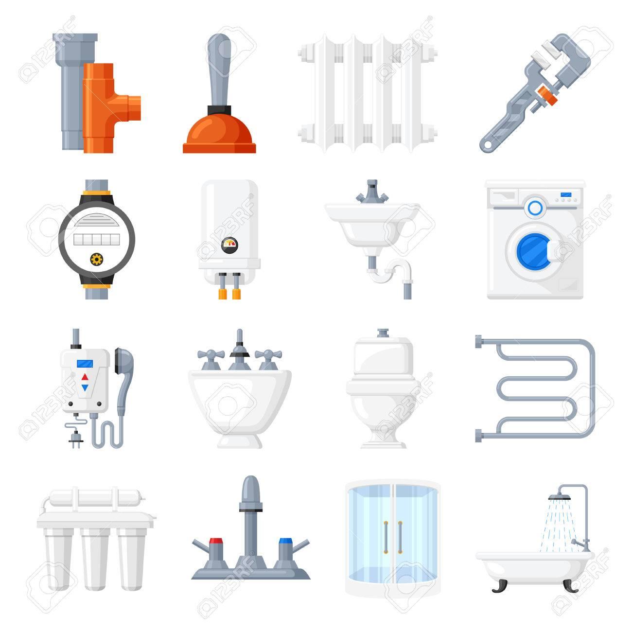 Un Toilette Ou Une Toilette matériel de plomberie et outils d'icônes vectorielles. plomberie pour un  bain, une toilette ou une cuisine sur fond blanc. chauffage électrique à