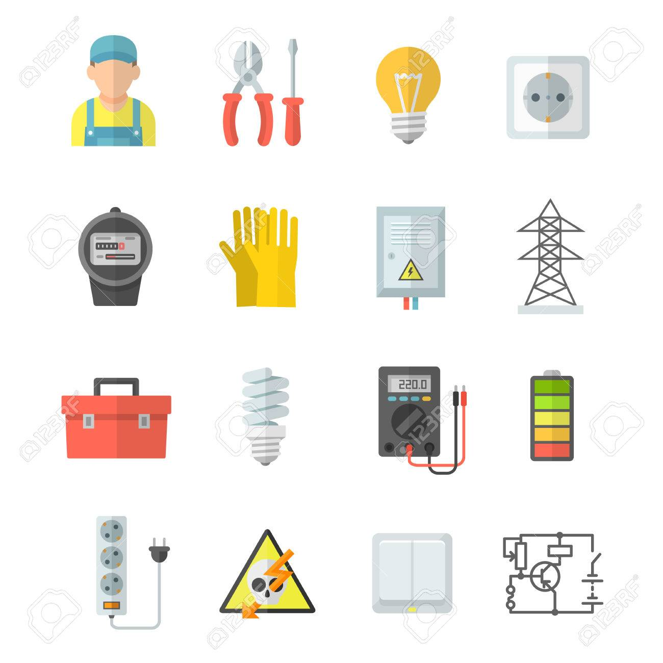 Electricity Vector Icons. Electrical Equipment: Voltmeter ...