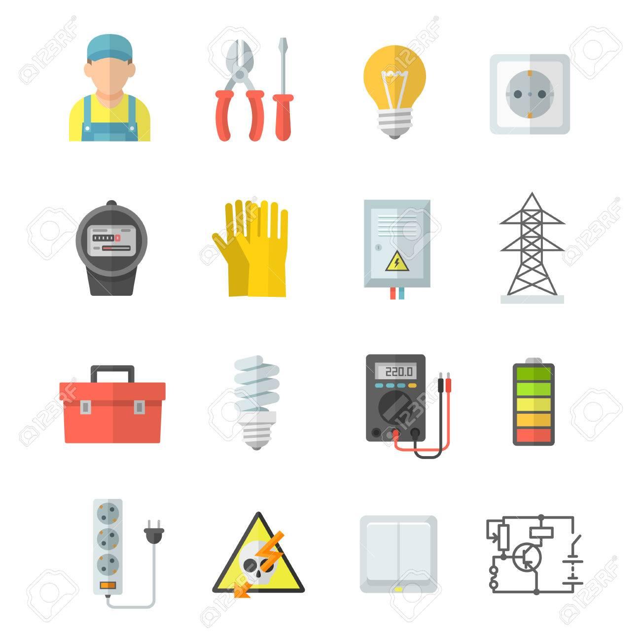 Elektrizität Vektor Symbole. Elektrische Ausrüstung: Voltmeter ...
