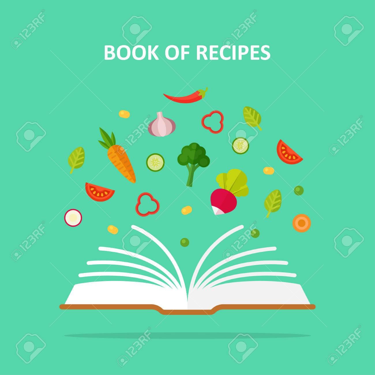 Buch Der Rezepte Vektor Konzept Illustration Vegetarismus Gemuse