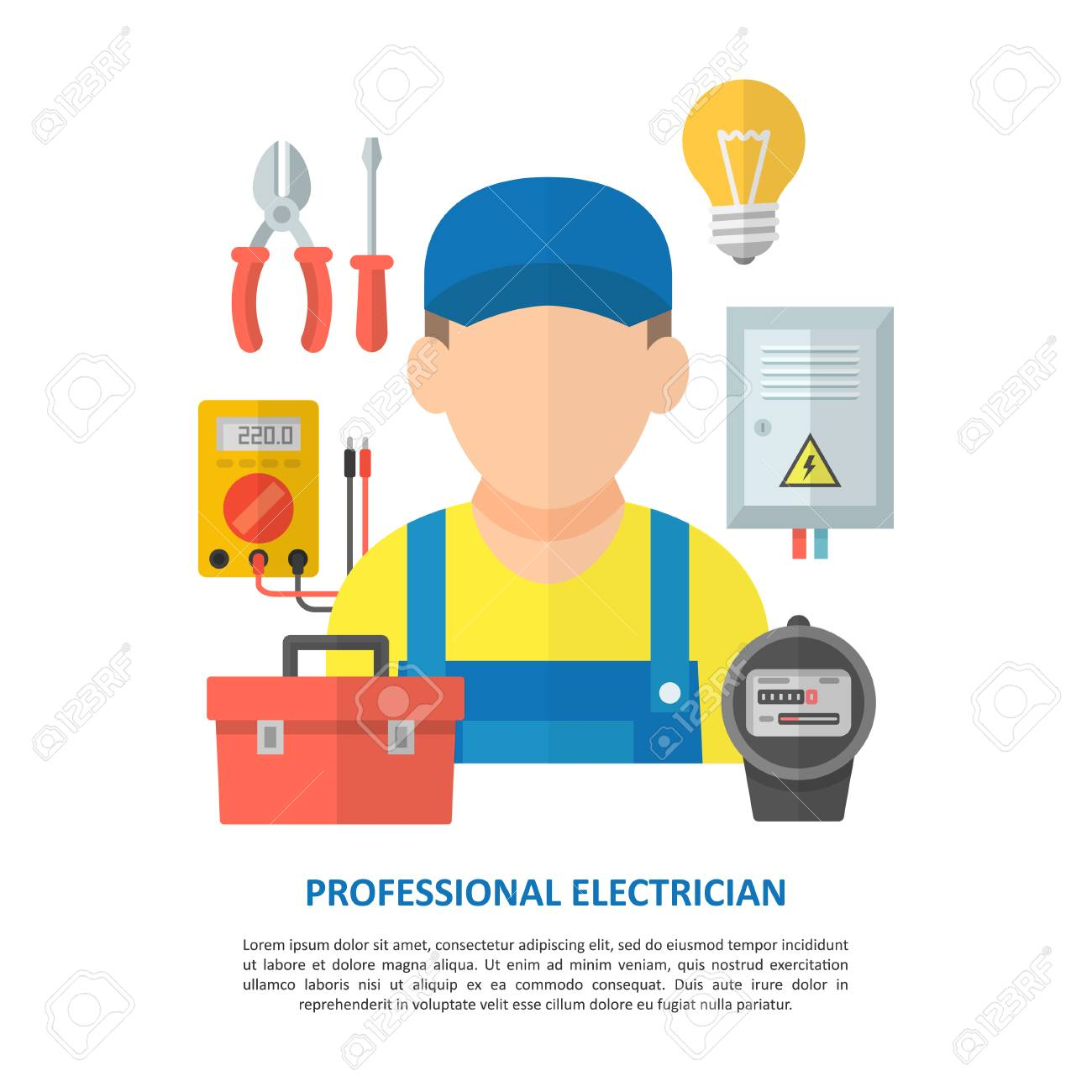 Electrician Worker With Household Electrical Equipment And Tools ...