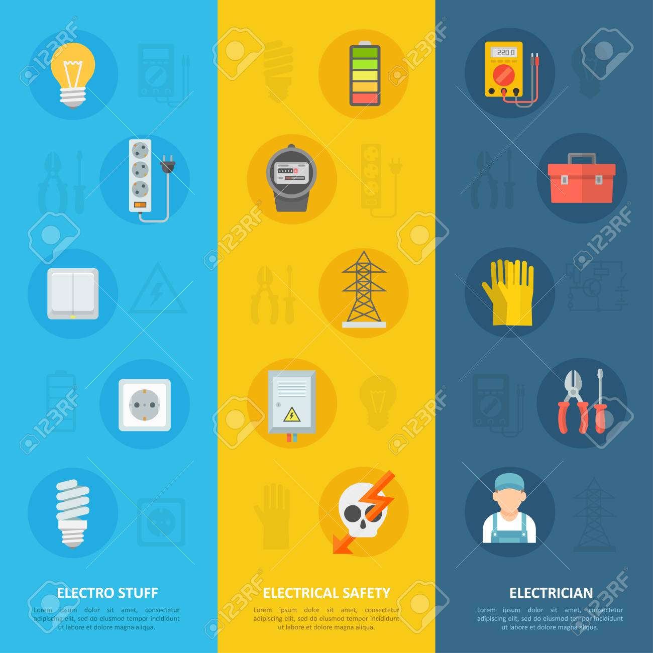 Electricity Safety And Electrician Icon Set, Educational Service ...