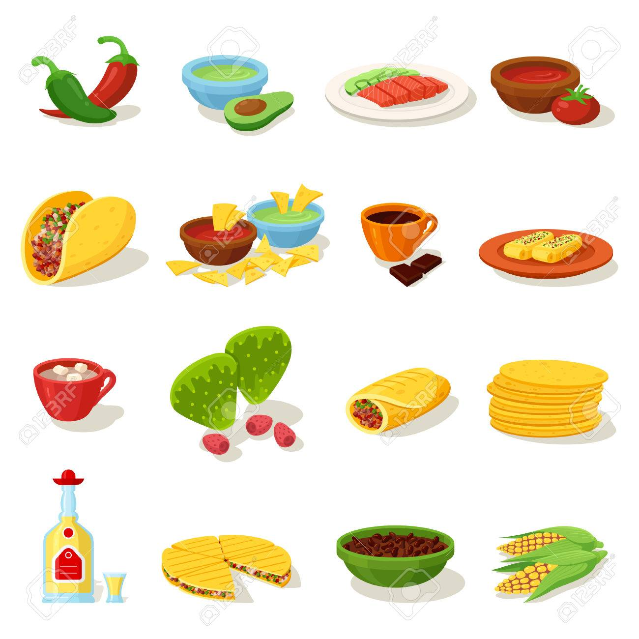 Conjunto De Iconos De Menú Tradicional Comida Mexicana Deliciosas Recetas Para Cocinar Cocina Auténtica Comida De Festival Vector Plana