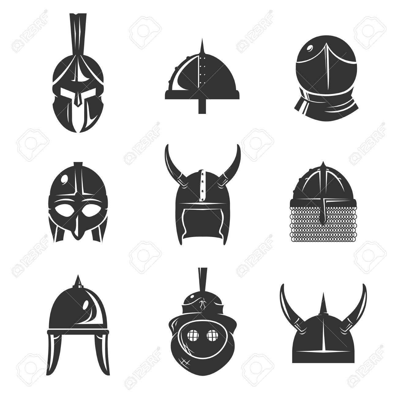 Warrior Helmet Icon Set Old Conical Shaped Or Horn Ancient Armour