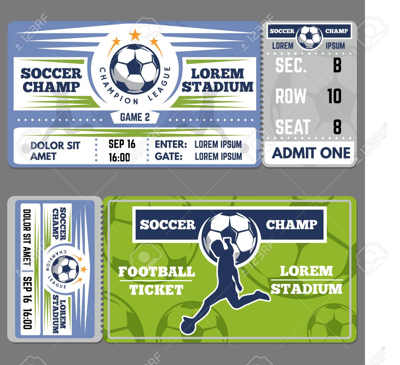 Football Ticket Template Design. Coupon For Soccer Sporting Event ...