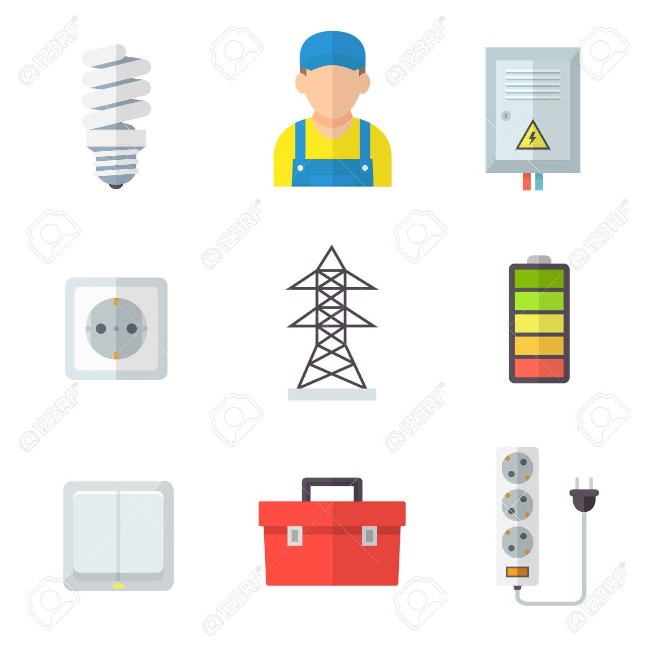 Electrician Icon Set Professional Service Fit And Fix Electrical Equipment Lighting