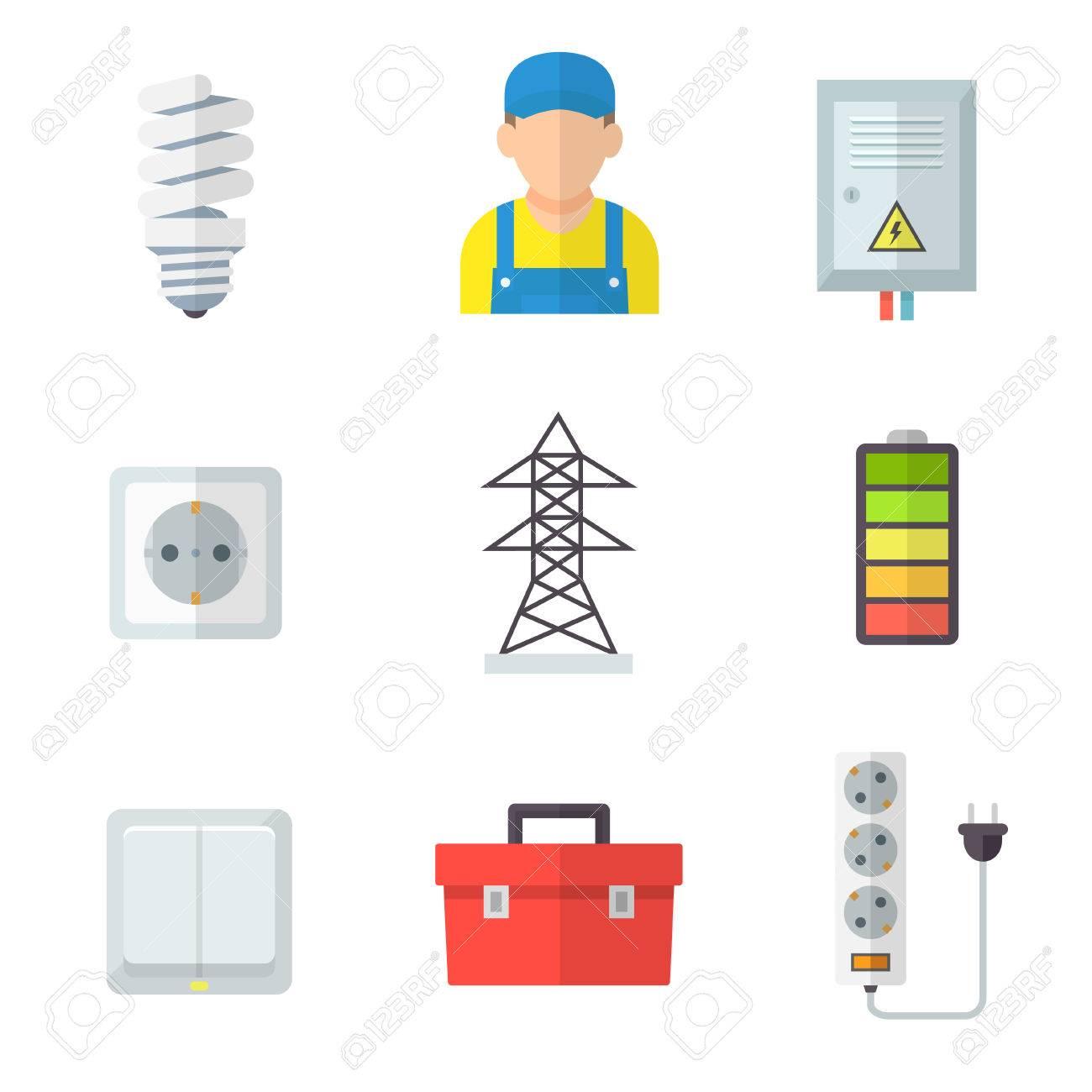 Elektriker Icon Set, Professionelle Service, Fit Und Fix, Elektrische  Geräte, Beleuchtung