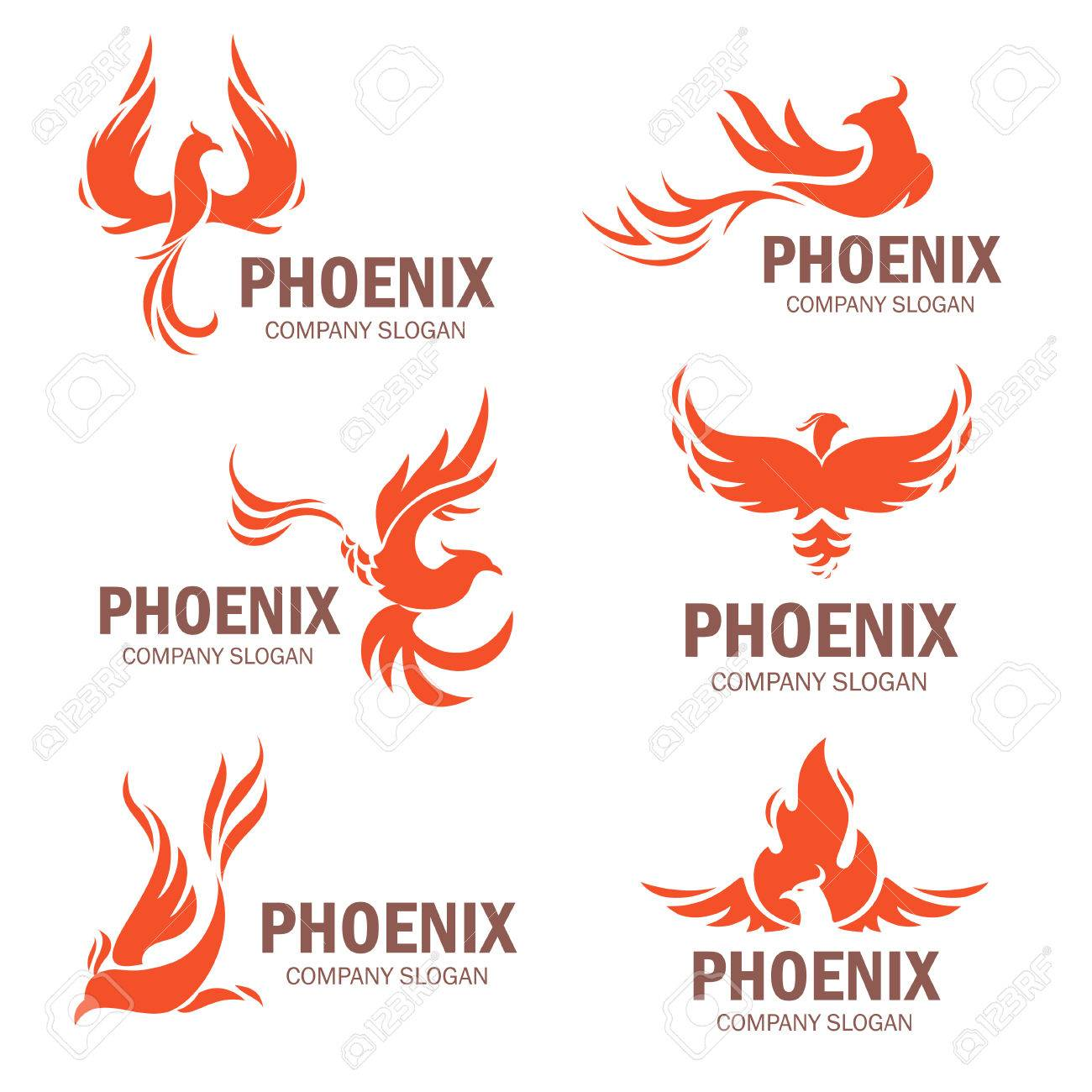 Phoenix Company Slogan Set Rising From The Ashes Bird Symbol
