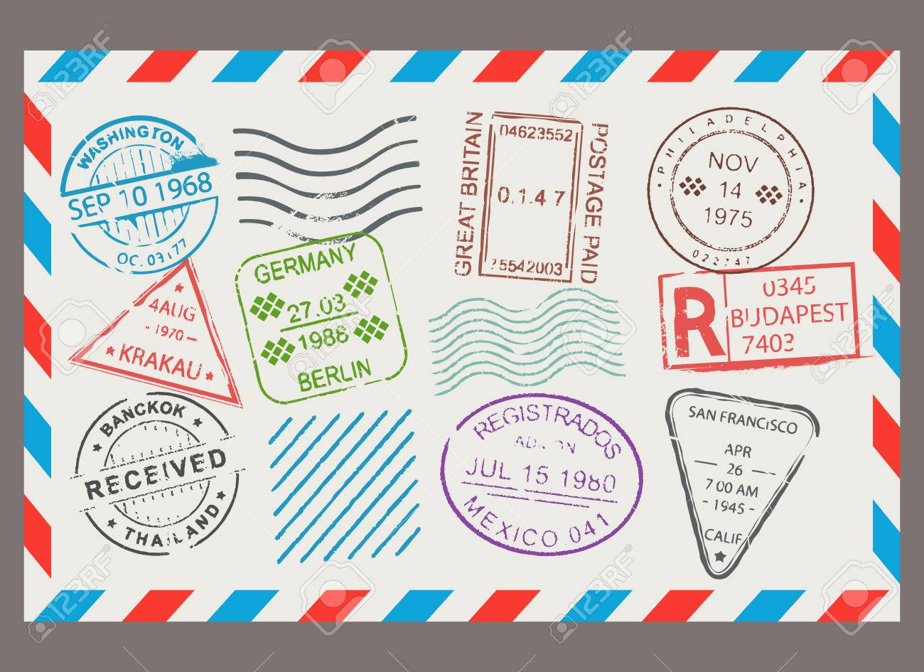post stamp flat cartoon set letter design scrapbook border with envelope format correspondence