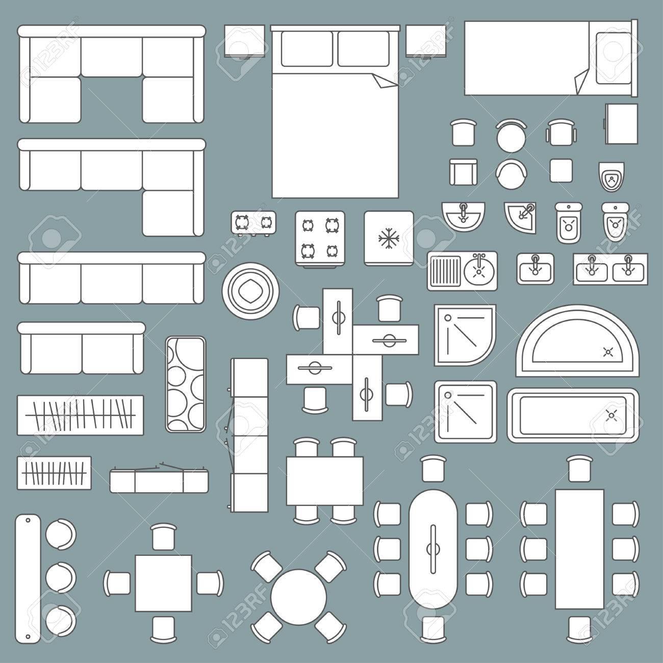 Banque dimages plan darchitecture de la vue supérieure des meubles conception graphique maison et bureau dessin technique dappartement