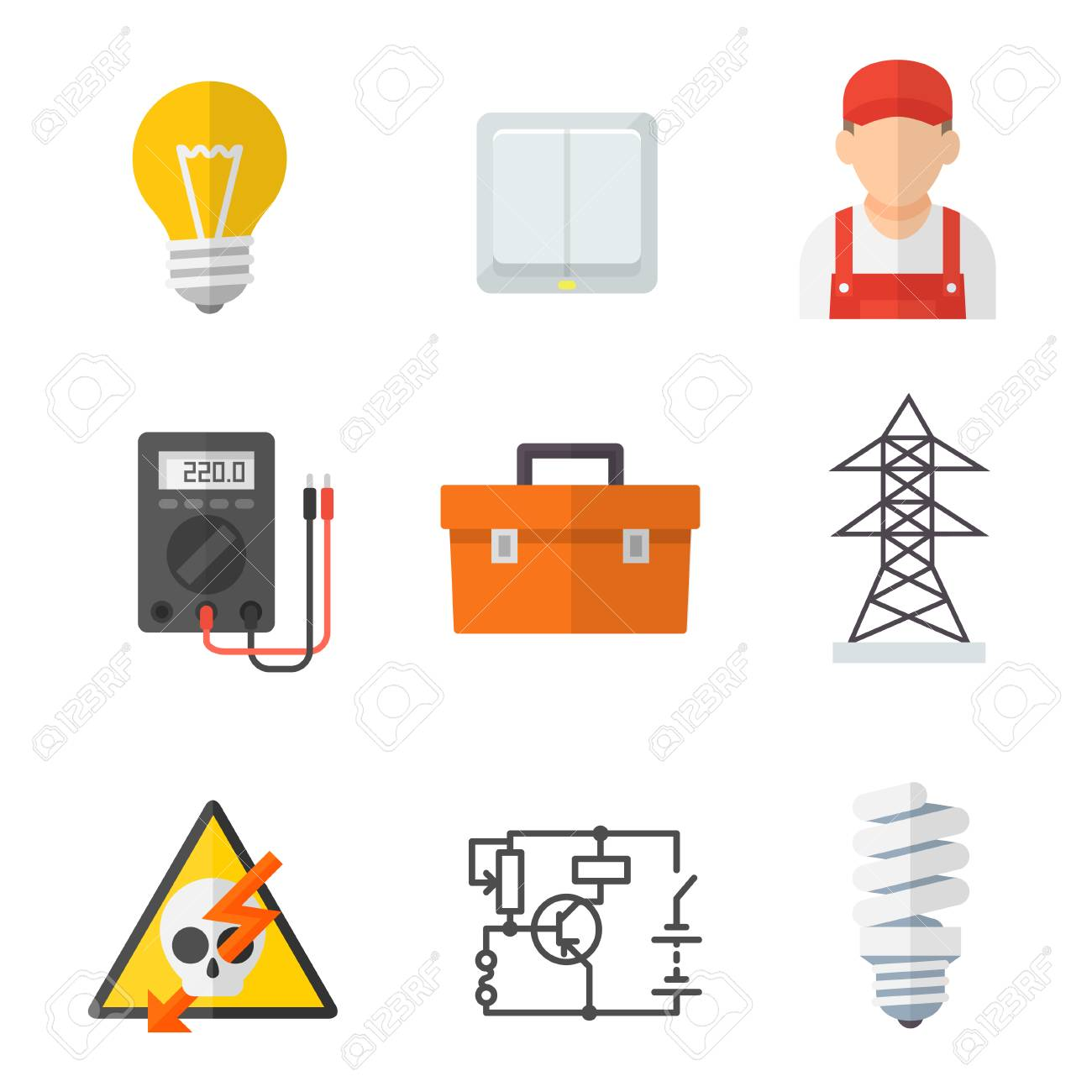 Electrician industry icon cartoon set: Tradesperson, electrical wiring of  buildings, systems and equipment