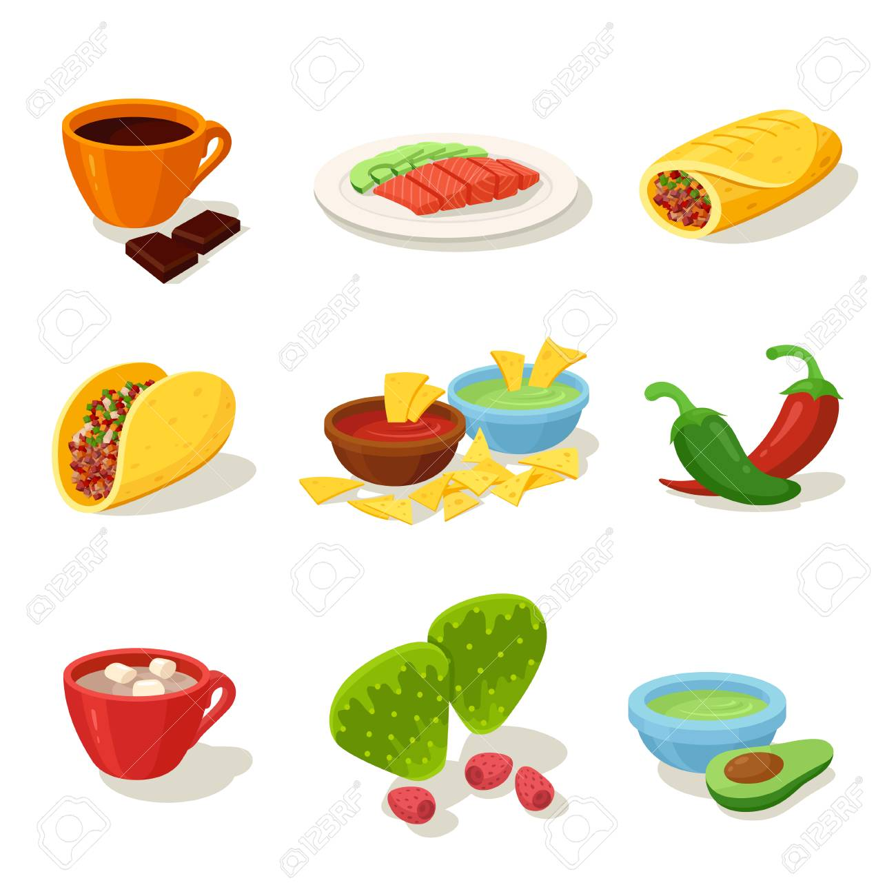 Mexican food cartoon set Delicious recipes to cook, ingredients..