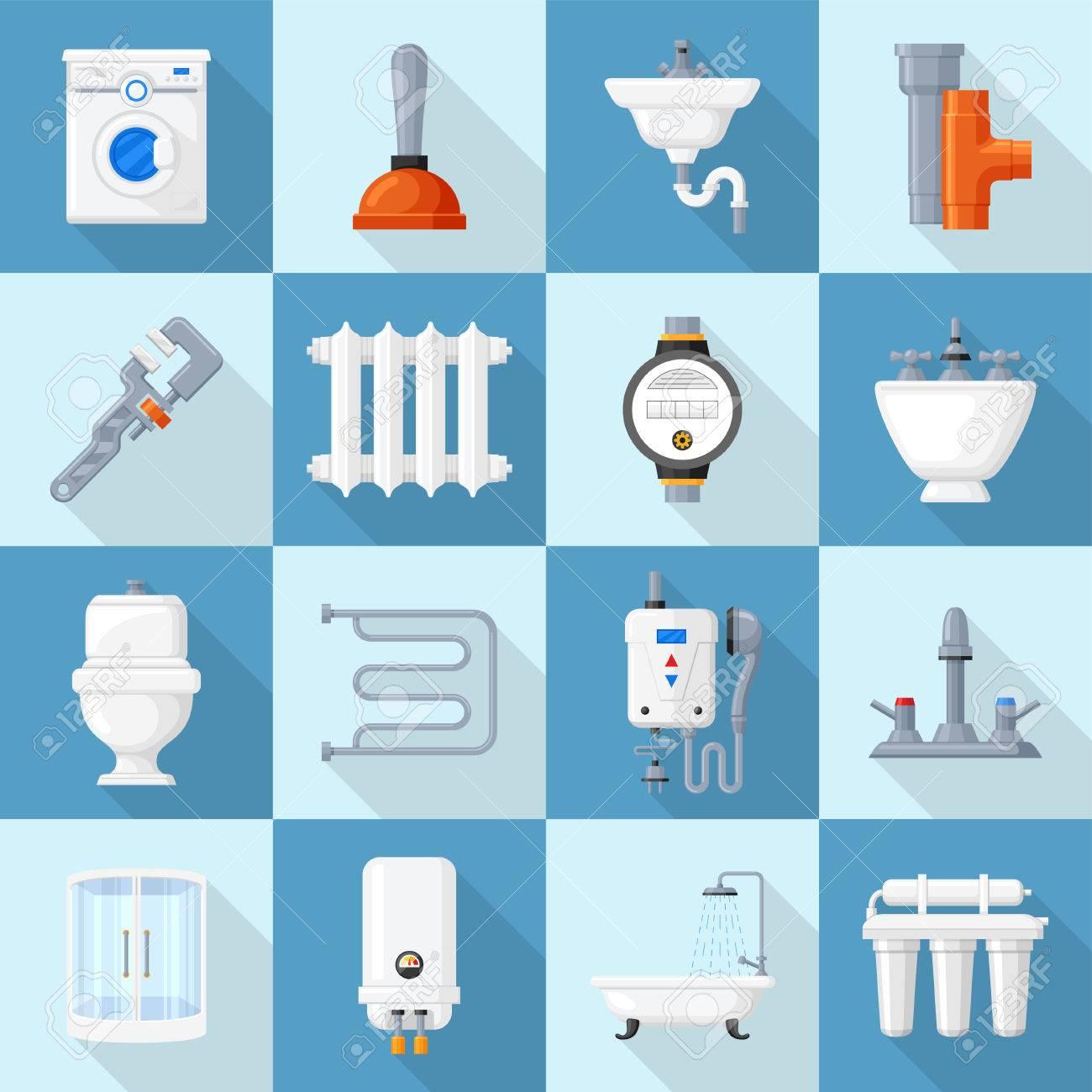 plumbing cartoon set supplies and fixtures service for home