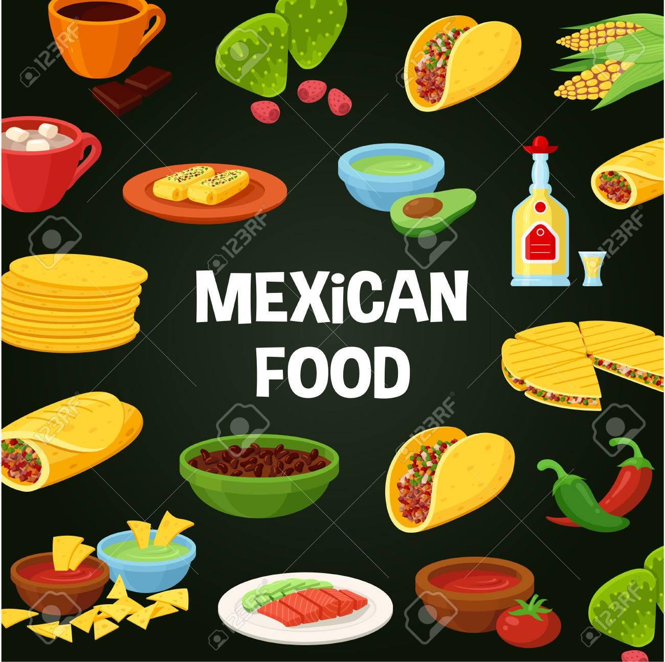 Cartel De La Comida Mexicana Menú Restaurante Tradicional Cocina Auténtica Deliciosas Recetas Para Cocinar Vector Ilustración Estilo Plano Aislado