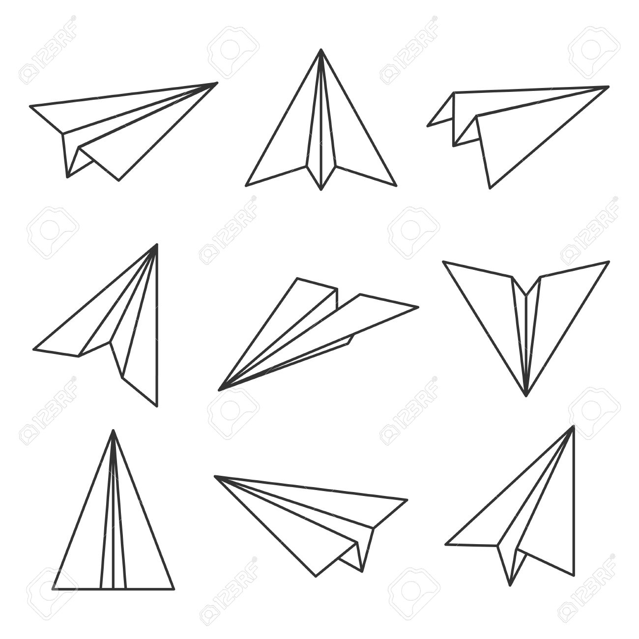 Paper plane outline  Glider, made out of folded paper, toy aircraft