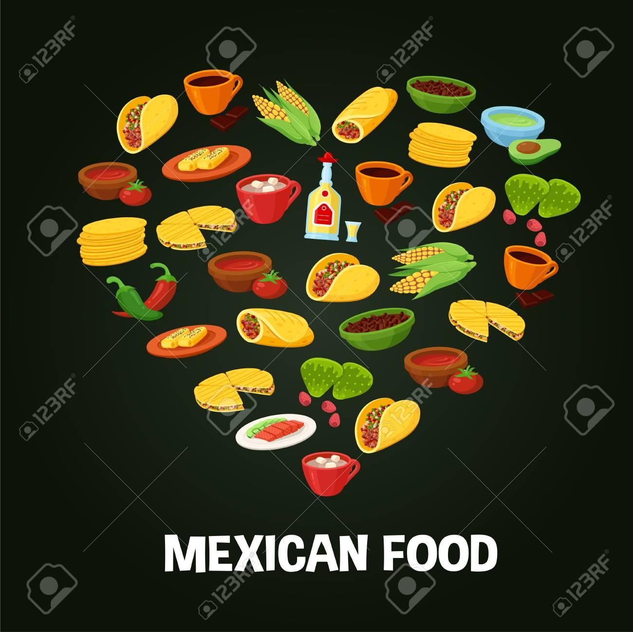 Fondo Del Corazón De La Comida Mexicana El Amor Por Deliciosas Recetas Tradicionales Para Cocinar Menú Del Restaurante Vector Ilustración Estilo