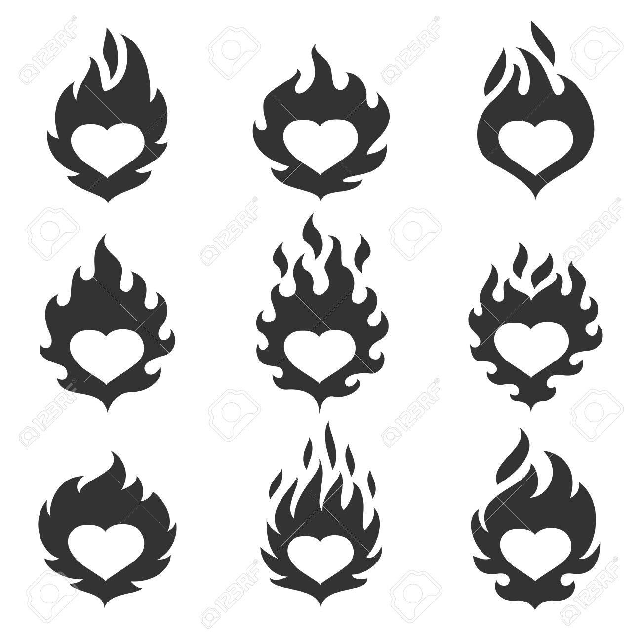 Jeu De Flammes Du Coeur Noir Et Blanc Flamboyant Et Brillant De Lumière Divine Brûlant Damour Illustration De Dessin Animé De Vecteur Plat Style