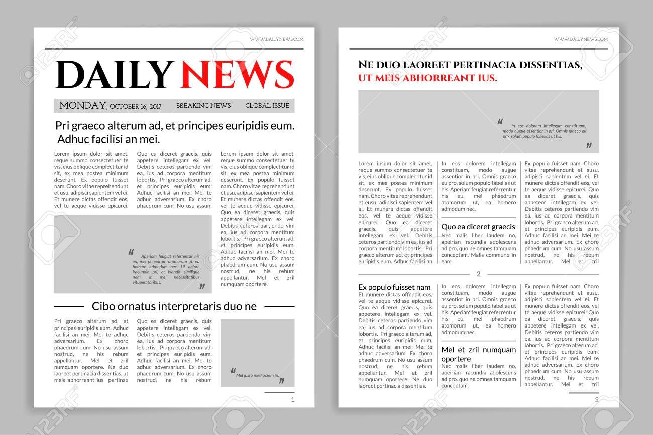 newspaper template design. royalty free cliparts, vectors, and stock