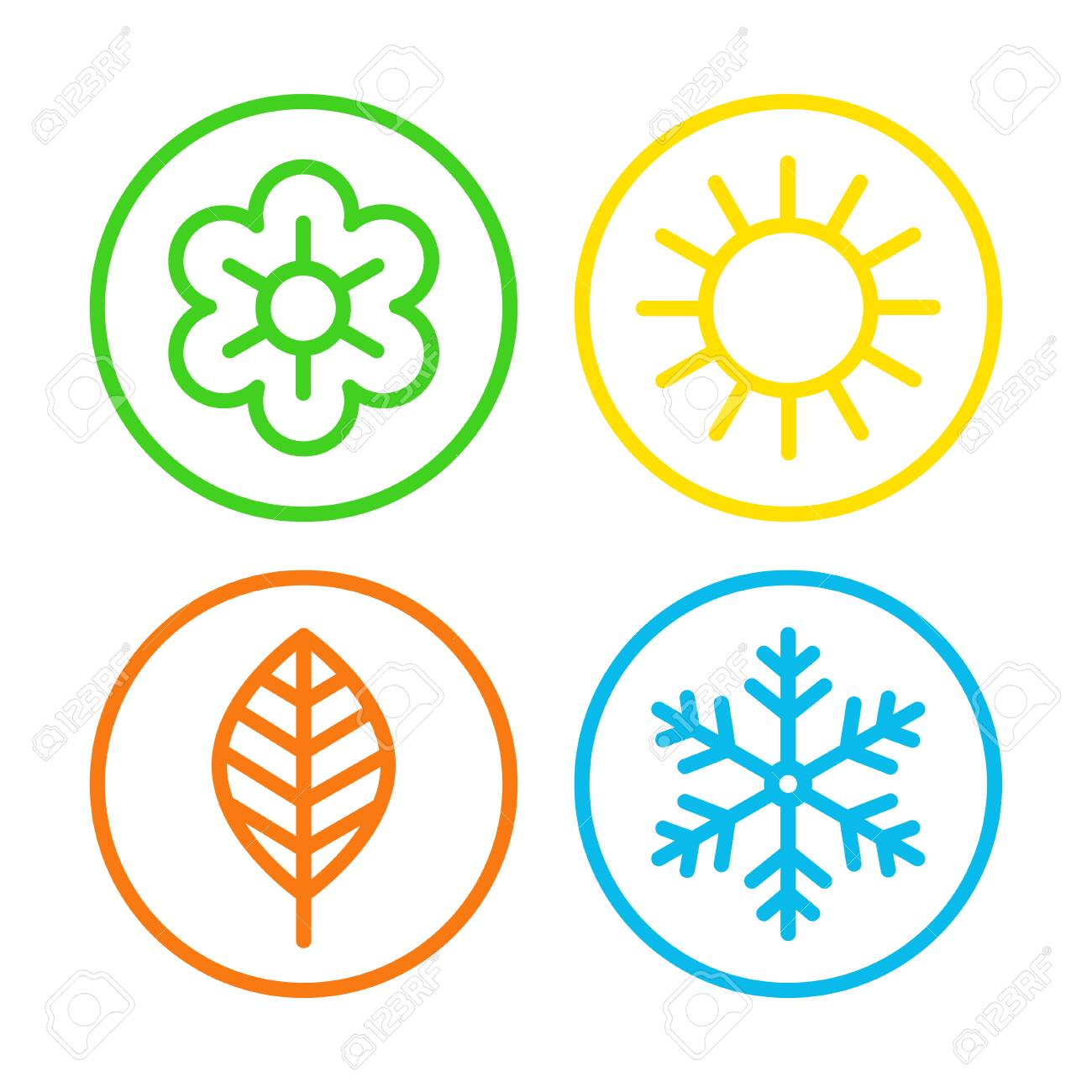 Four seasons icon set. - 88499210