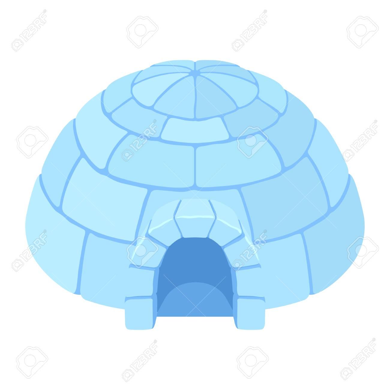 Maison De Glace D Igloo Maison De Neige Refuge Hivernal En Forme De Dome Esquimau Fait De Blocs Illustration De Dessin Anime De Vecteur Plat Style Isole Sur Fond Blanc Clip Art Libres