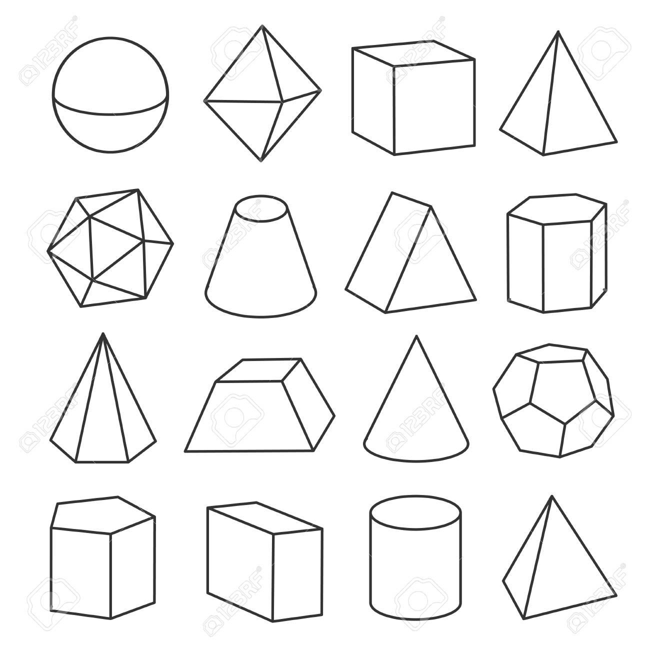Figuras Geométricas Isométricas Ilustraciones Vectoriales Clip Art