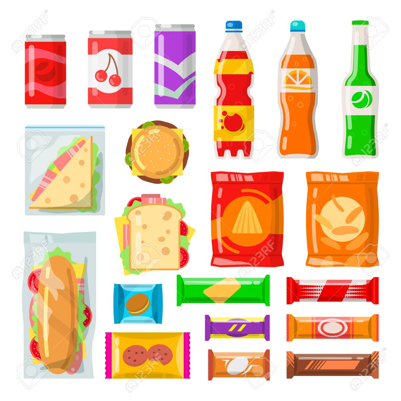 Vending machine products. Tasty snacks, beverages, drinks from automated machine. Vector flat style cartoon illustration isolated on white background - 90002640