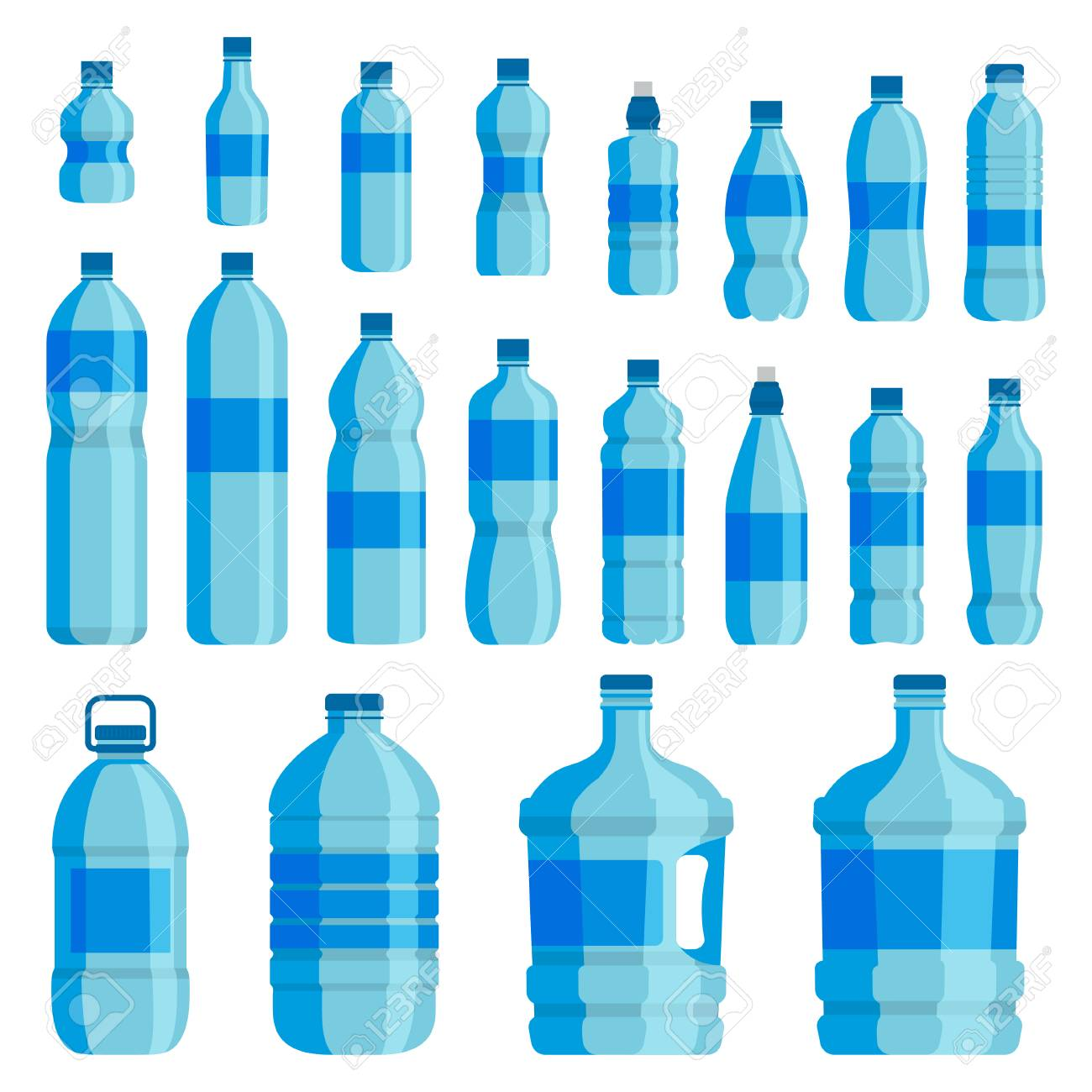 Plastic bottle water set. Blue drinking water packaged in PET Bottle, recyclable and easy to store liquids. Vector flat style cartoon illustration isolated on white background - 90590070