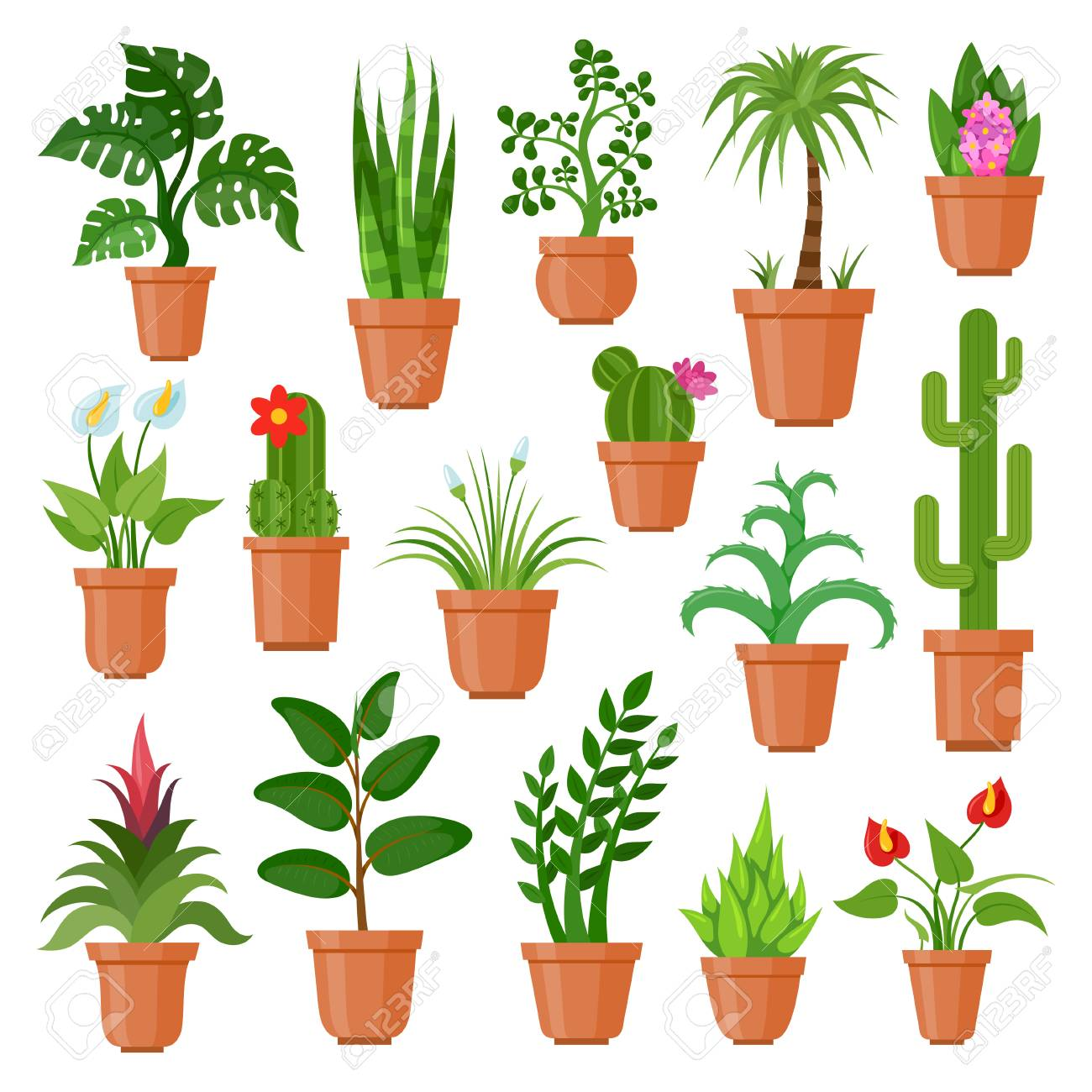 indoor home office plants royalty. House Pot Plants. Green Indoor Houseplants For Home And Office Decoration, Tropical Flat Nature Plants Royalty A