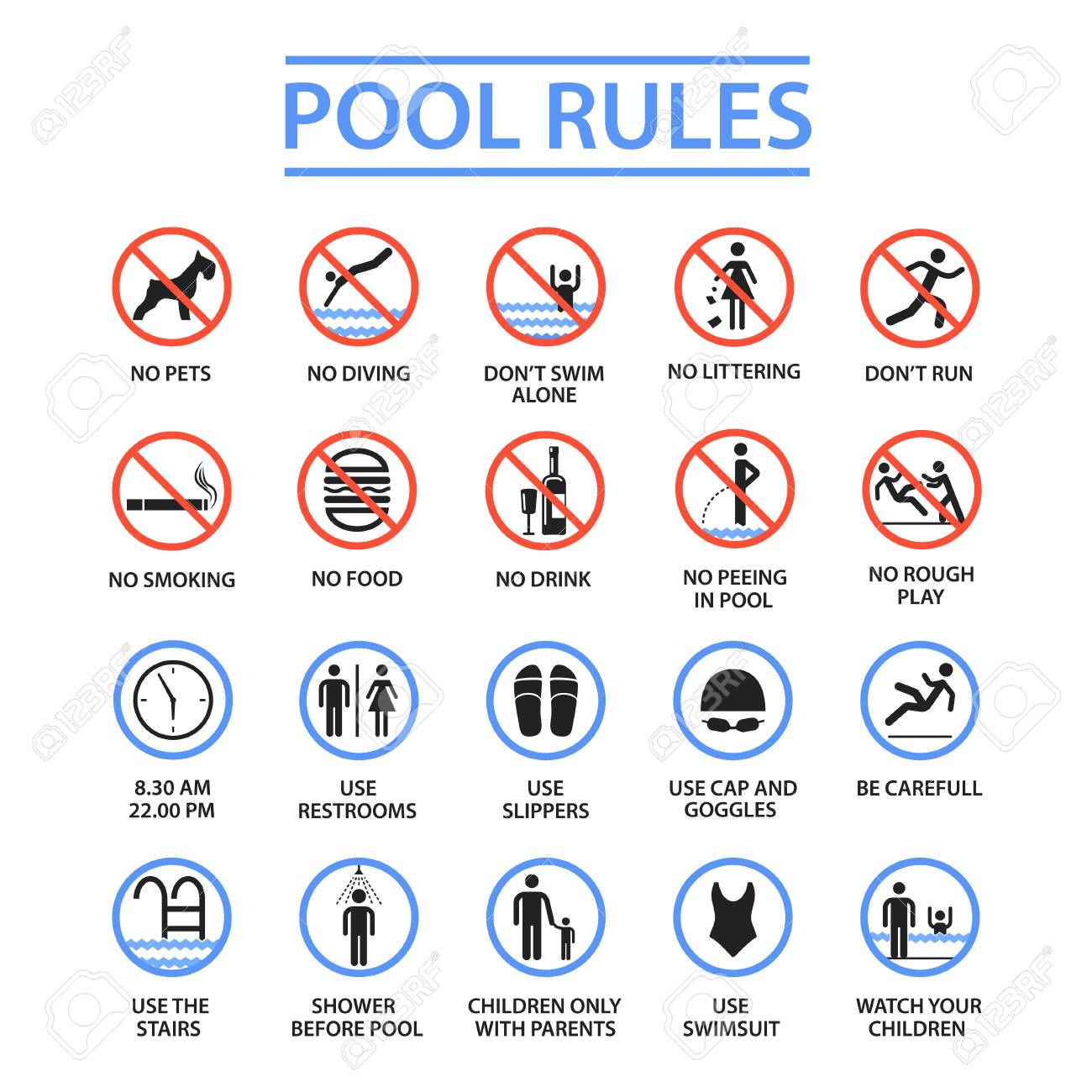 Swimming pool rules - 97179310