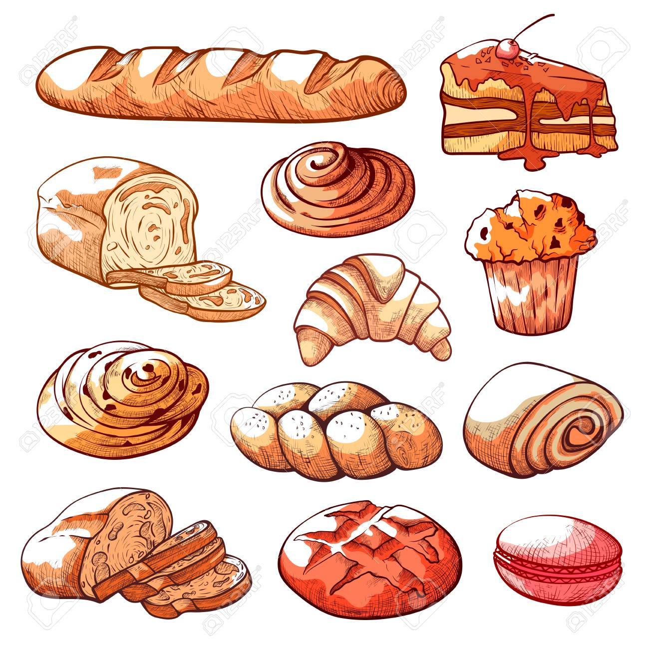 Bakery And Pastry Products Decoration For Place Where Bread