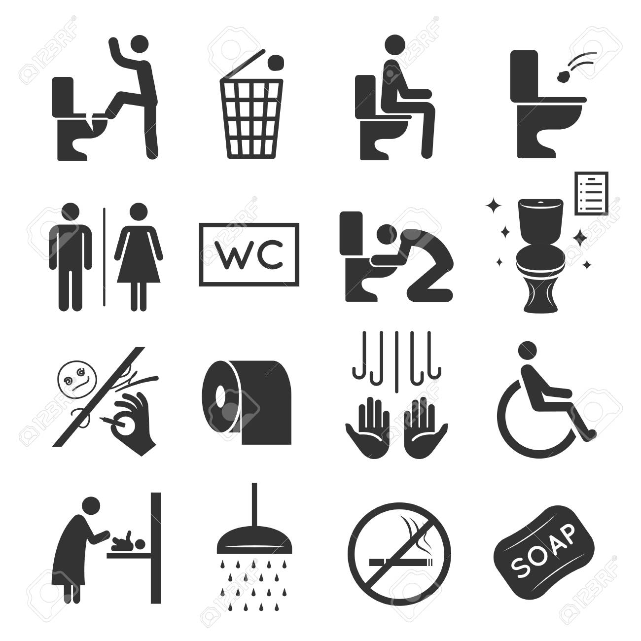 Restroom Icon Set Washroom And Bathroom Symbols Royalty Free Cliparts Vectors And Stock Illustration Image 111030547