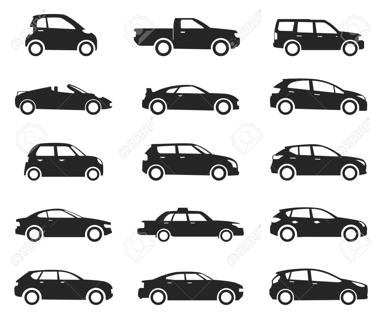 Car icon side view set, black silhouette. Road vehicle with four wheels, business transportation and automobile sport. Vector illustration - 122435145