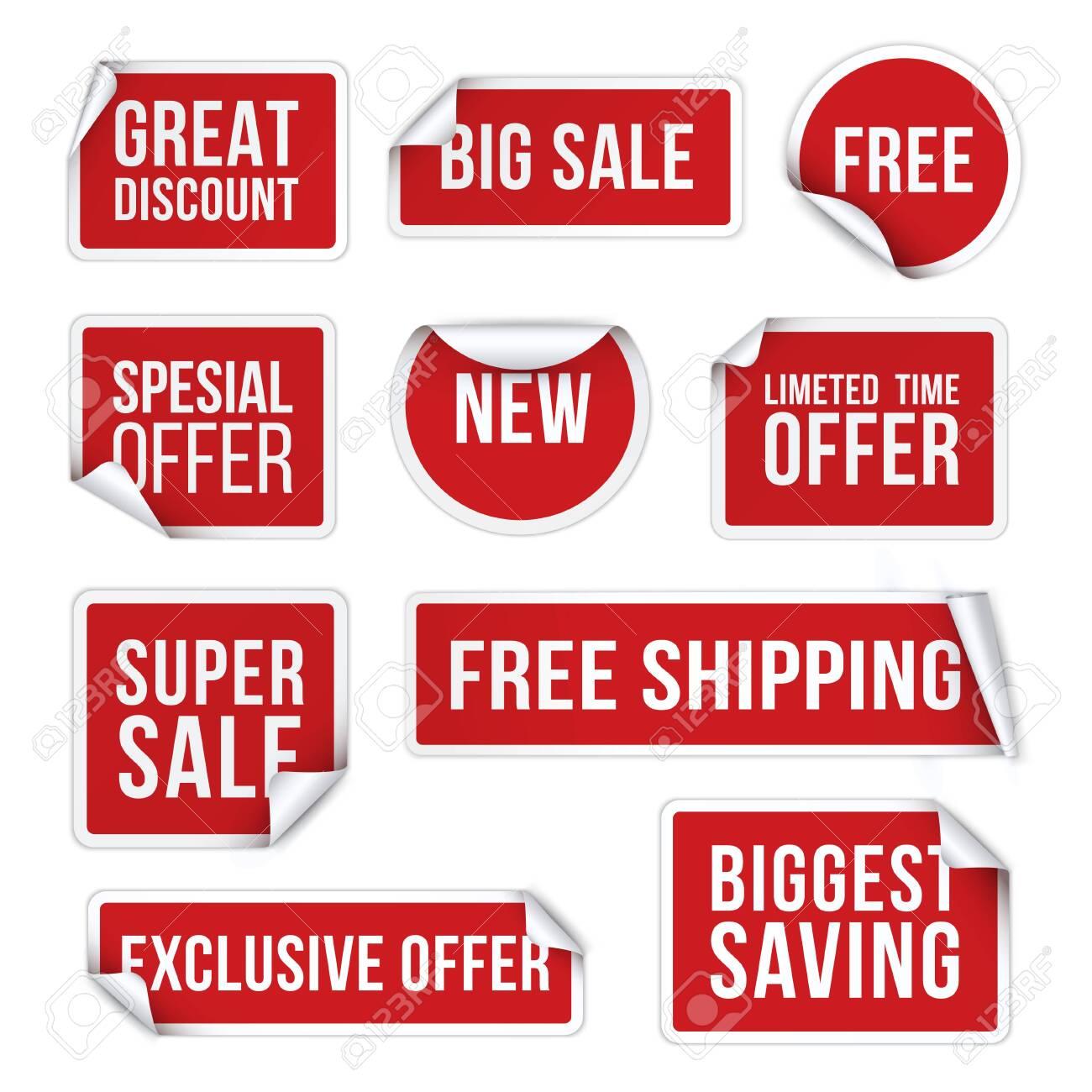 Sale stickers, promotional labels realistic vector illustration set - 133292972