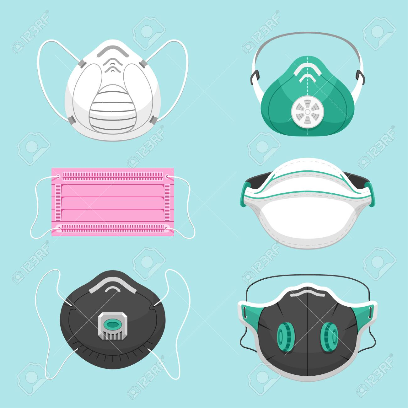 Protective medical masks flat vector illustrations set. Various respirators for health care isolated on blue background. Air pollution, environment contamination, disease prevention symbols pack - 132946091