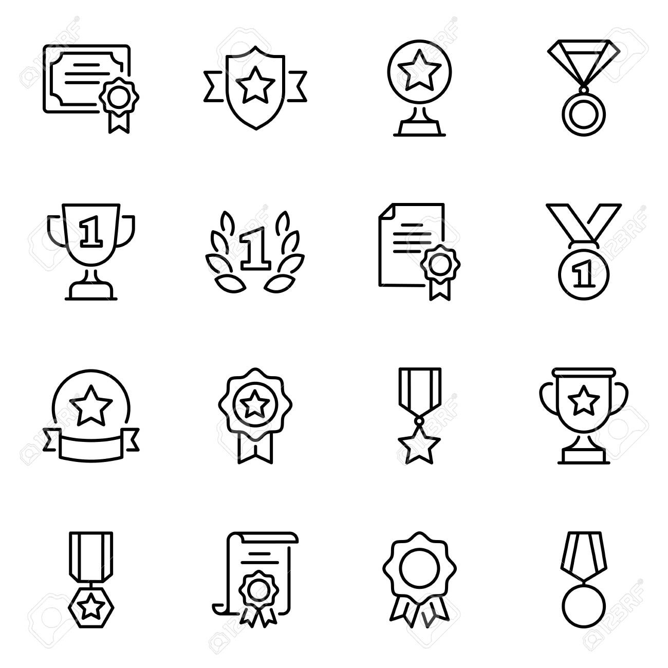 Awards and prizes thin line icons set. Certificates and trophies linear symbols pack. Medals of honour, rosettes with stars, ribbons and laurel wreath contour pictograms isolated on white background - 136442414