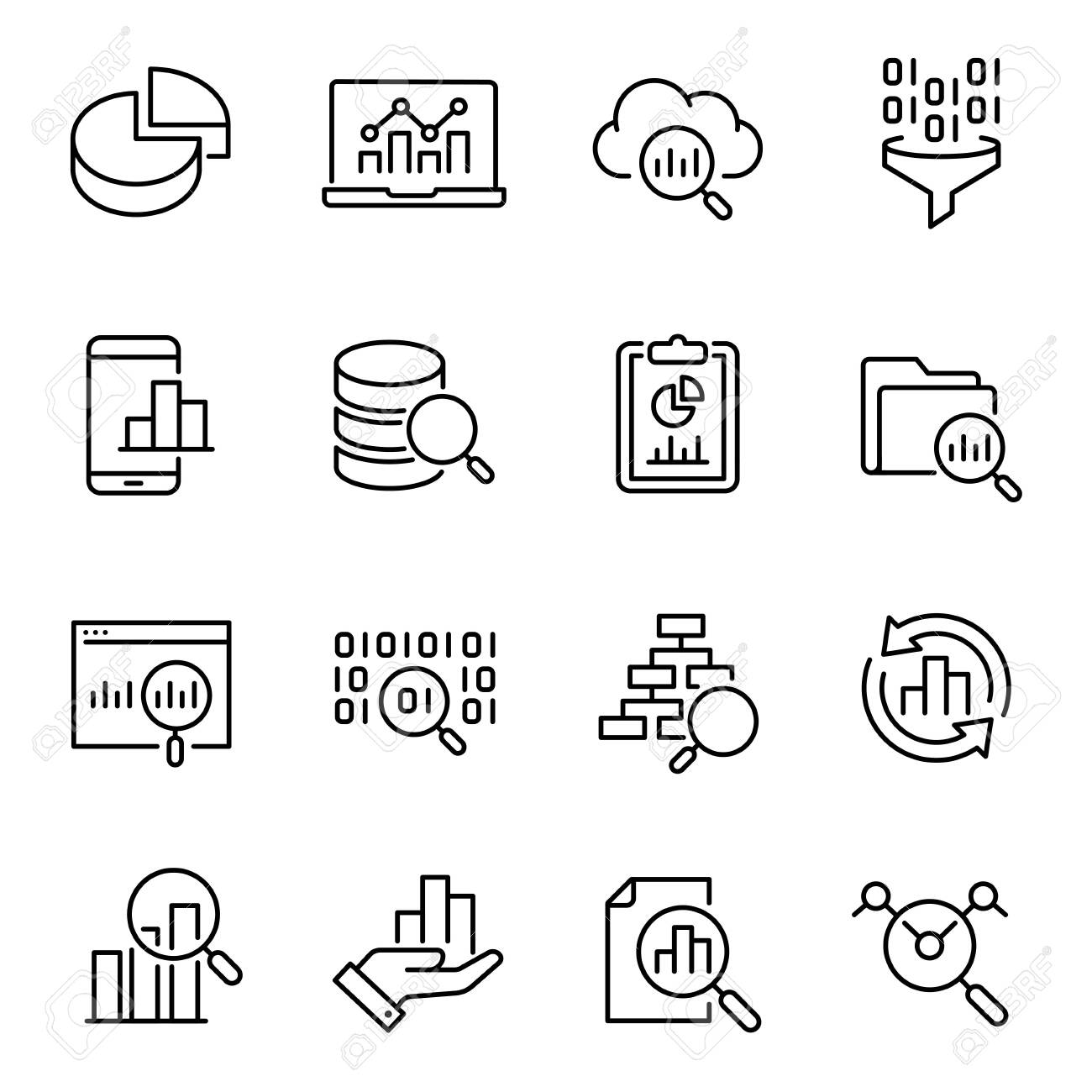 Data analysis, information search vector icons set - 137859254