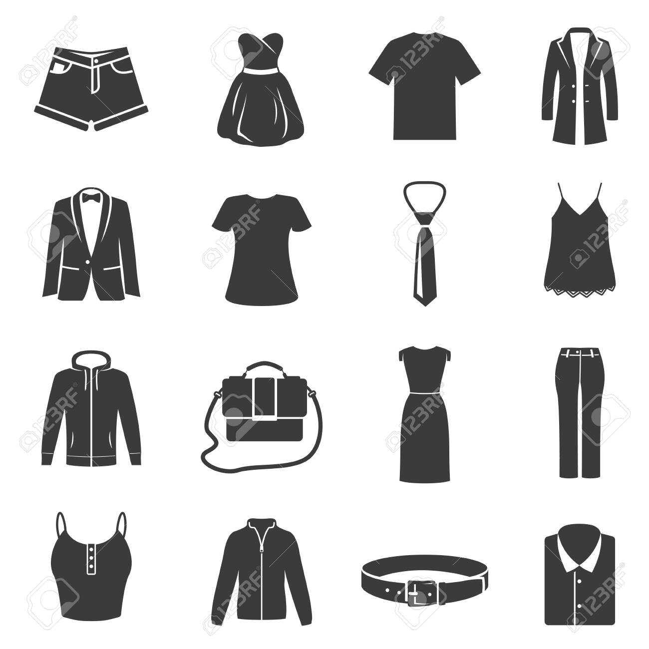 Set of female, male dress, clothes black silhouette icons isolated on white. Accessories pictograms. - 146941028