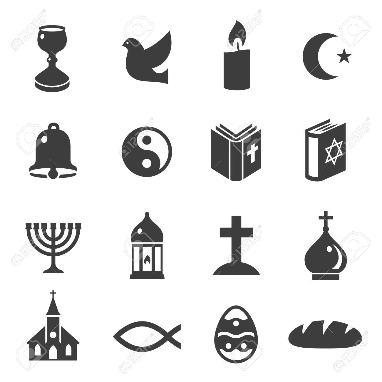 World religious symbols black icons set isolated on white. Christianity, islam, judaism, taoism. - 148951288