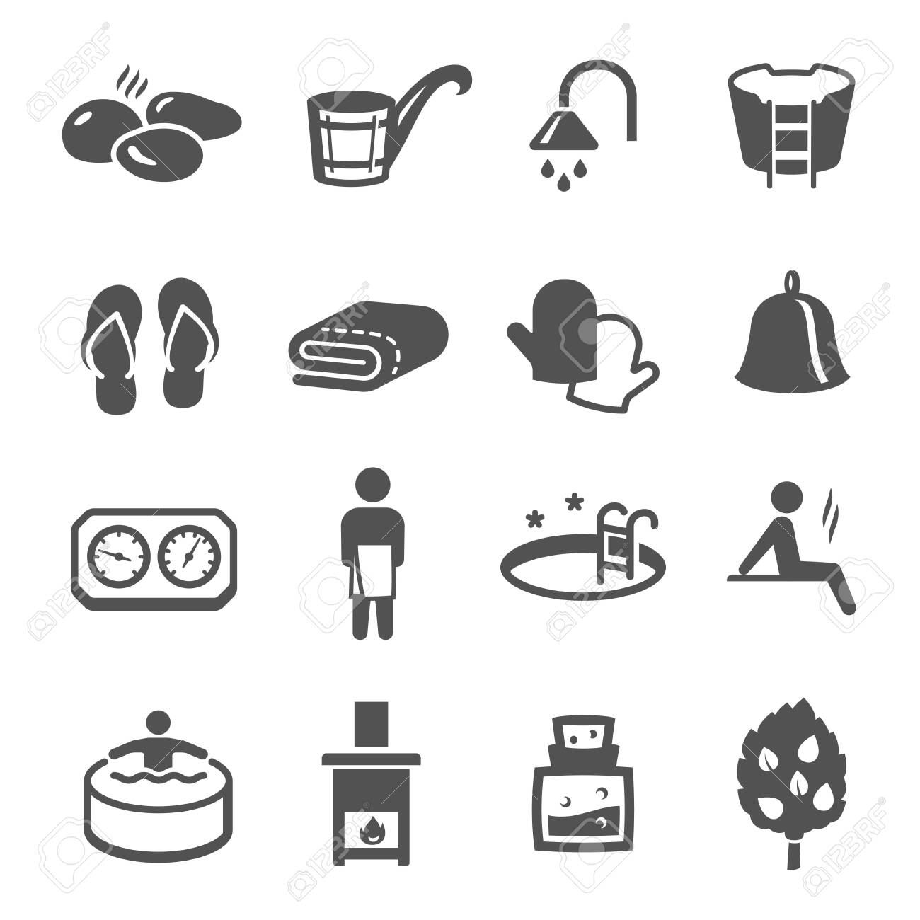 Sauna, bath black icons set isolated on white. Wellness, spa, health and body care pictograms collection, logos. Recreation, relaxation, rehabilitation, bathhouse vector elements for infographic, web. - 148042438
